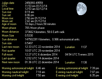 Moon Details from Weather-Display